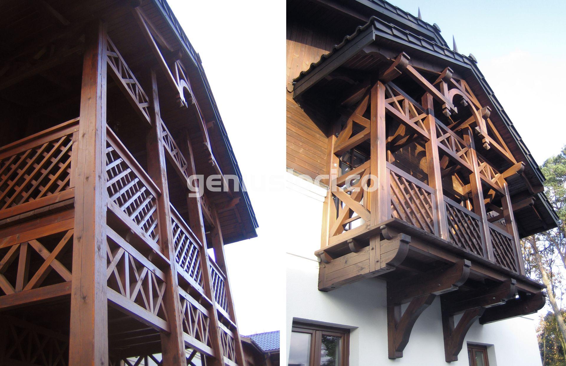 Drewniany taras ibalkon wstylu Świdermajer